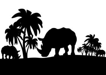 Rhinos in the savannah