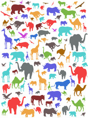 Seamless colorful african animals pattern