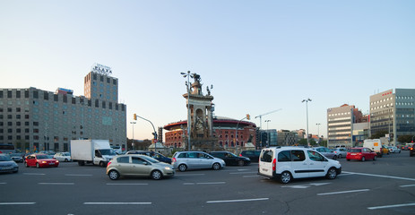 Traffic at Square of Spain, Barcelona
