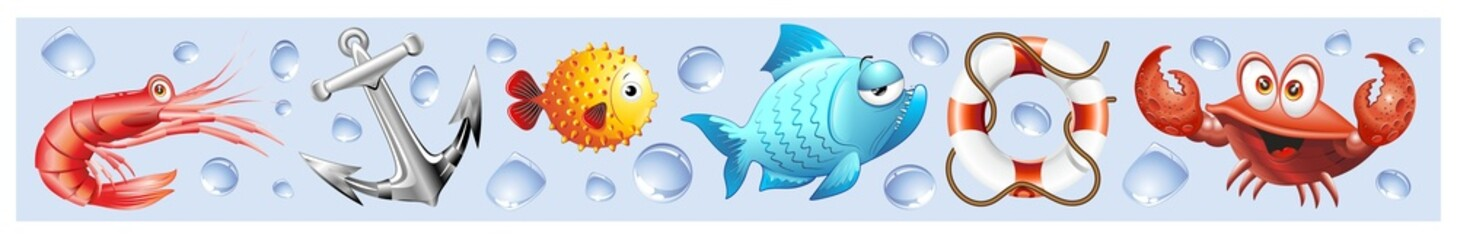 Door stickers Draw Animali Mare Sfondo Banner-Sea Animal Background-Vector-3