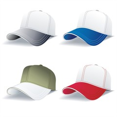 Realistic Red and Blue and White Baseball Caps