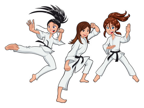 Karate Girls Players. Vector cartoon isolated characters