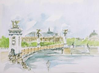 Poster Illustration Paris Pont Alexandre III