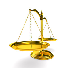Scales justice on white background. Isolated 3D image