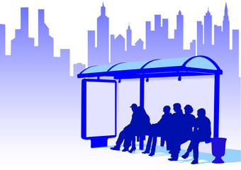 Wall Mural - Bus stop in city