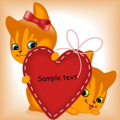 Printed kitchen splashbacks Cats heart. ginger kittens.