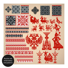 Russian old embroidery and patterns. Vector illustration.