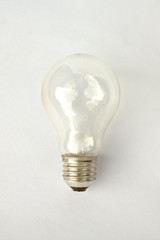 Macro of electric bulb isolated on white background