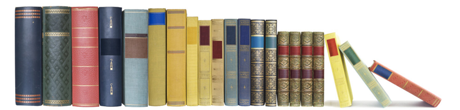 books in a row, isolated, free copy space, large format