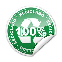 Pegatina 100% Reciclado con reborde