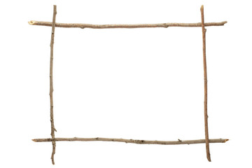 Stick and twig frame isolated, clipping path included