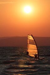 Surfer in the sunset at Balaton