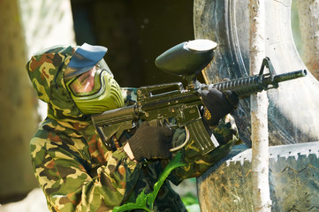 paintball player outdoors