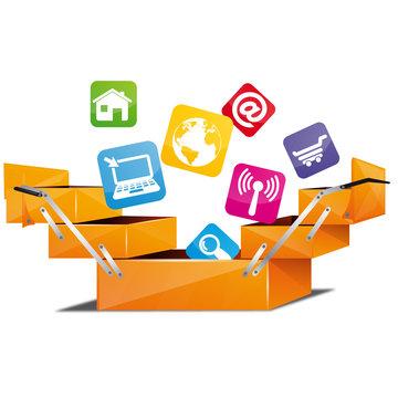 boite à outil et icone internet