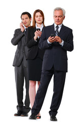 two businessman and one businesswoman with mobile