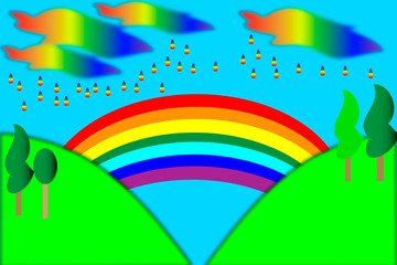 Landscape with  rainbow, abstract vector art illustration