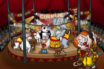 Circus Show - Cartoon Illustration
