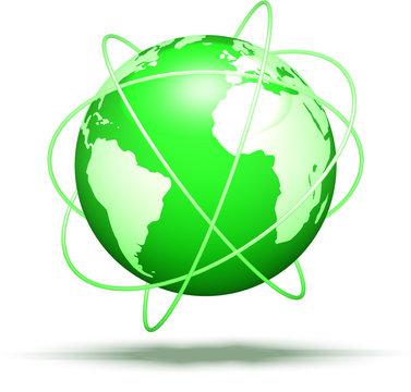 green globe with orbits