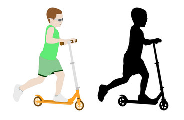 scooter kid - vector illustration