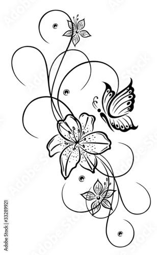 lilien lilie ranke blumen bl ten flora filigran. Black Bedroom Furniture Sets. Home Design Ideas