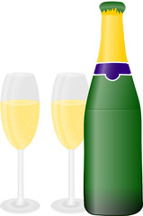 szampan i butelka