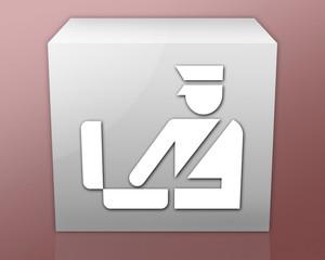 "Box-shaped Icon (red b/g) ""Customs Symbol"""