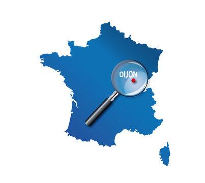 Dijon : Carte de France - département de la Côte-d'or