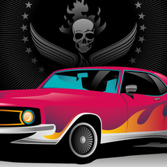 Illustrated muscle car close up.