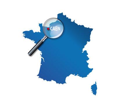 Caen : Localisation sur carte de France - la Basse-normandie