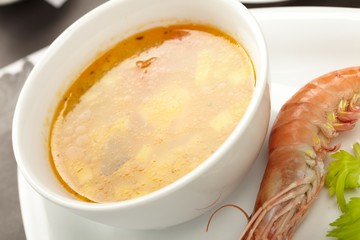 Vegetable soup with shrimps