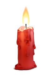 burning candle isolated over white