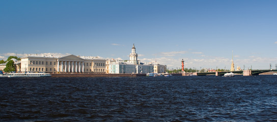 Panorama of St. Petersburg Neva River Embankment