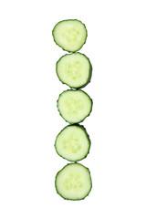 Vegetable Alphabet of chopped cucumber  - letter I