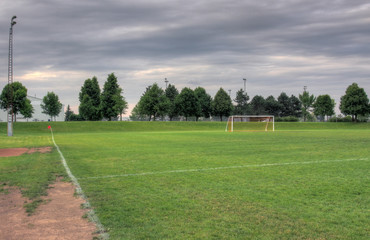 Grey Clouds and Soccer Field