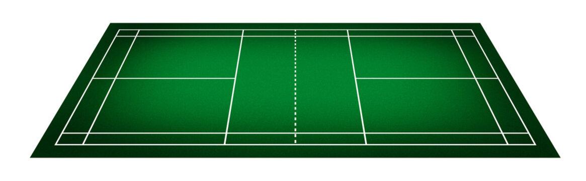 Illustration of badminton court.
