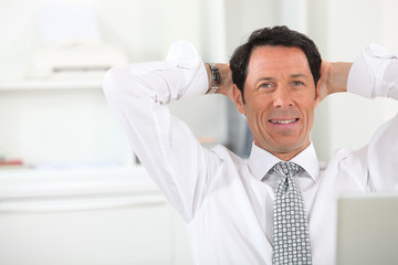relaxed businessman close-up
