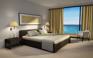 Chic luxury bedroom 3d rendering with sea view