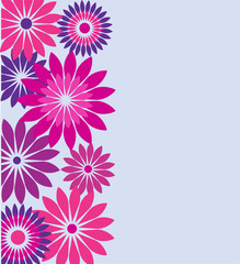 birthday card with pink and purple flowers