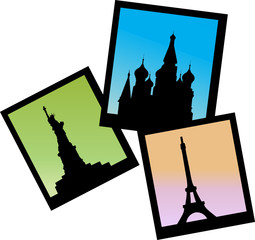 three pictures of Moscow, Paris and NY icons