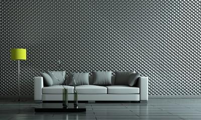 Wohndesign - Sofa vor Metallwand