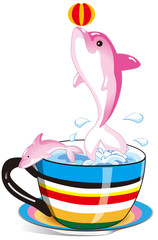 Spoed Fotobehang Dolfijnen dolphin in the rainbow cup