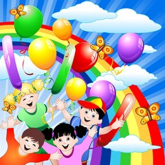 Door stickers Rainbow Compleanno Bambini e Palloncini-Children Birthday and Balloons