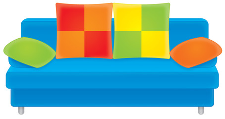 blue sofa with multi-colored cushions