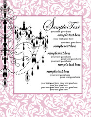 pink floral background with luxury chandelier