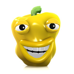 3d Yellow pepper gets the joke and laughs