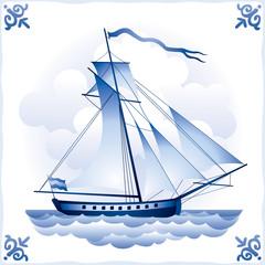 Ship on the Blue Dutch tile 6, yacht