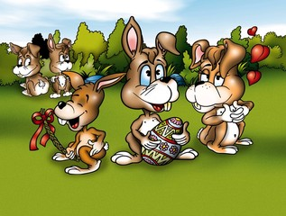 Rabbits and Easter - Cartoon Background Illustration