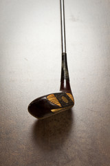 golf club on wooden background