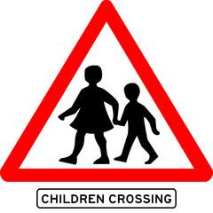 Children crossing school warning sign