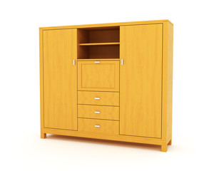 wooden cabinet isolated over white background